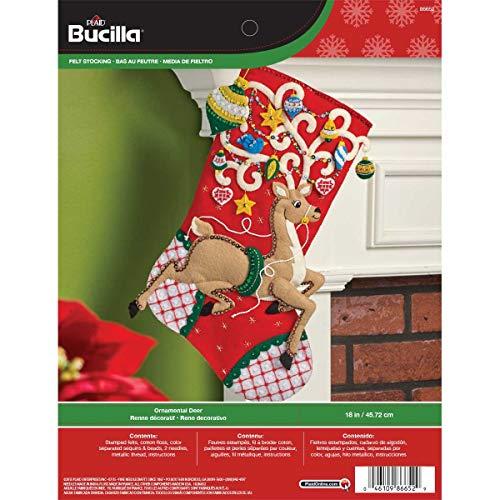 Bucilla 18-Inch Christmas Stocking Felt Applique Kit, Ornamental Deer (Kitchen)