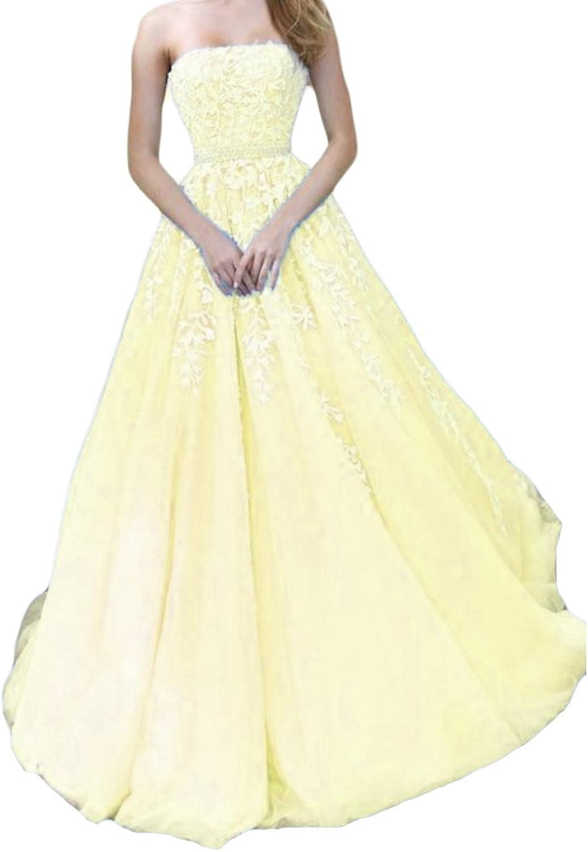 Liyuke Aline Strapless Prom Dresses Long Bridesmaid Formal Dress for Women 2018