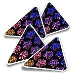 Pegatinas triangulares de vinilo (juego de 4) – Colorido Tiger Growl Pop Art Tattoo Fun Calcomanías para portátiles, tabletas, equipaje, reserva de chatarra, nevera #14770
