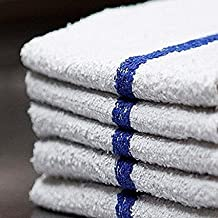 Bar Mop Cleaning Towels (12 Pack, 16 x 19 Inch) – Cotton Terry (Absorbs lot of water), White with Blue Stripe. White Kitchen Towels, Restaurant Cleaning Towels, Shop Towels and Rags By OMNI LINENS