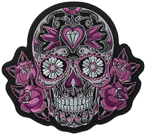 Hot Leathers Pink Sugar Skull and Roses Patch (Multicolor, 8' Width x 8' Height)