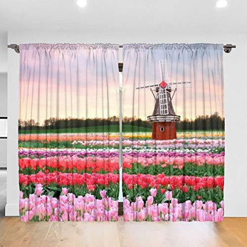 N/A Bloemen Molen Veld Tulpen Roze Lente Bloemen Architectuur Verduistering Pleat Kleurplaten Verduisterende Pleat Gordijnen Thermische Geïsoleerde Geluidsreducerende Gordijn Drapes Kamer Verduisterend Oogje Gordijnen