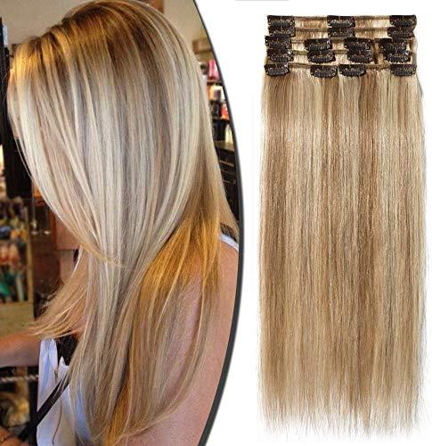 Extension a Clip Cheveux Naturel Type Fin - Rajout Vrai Cheveux Humain - 8 Bandes (#12+613 Marron clair Méché Blond très clair, 25 cm (50 g))