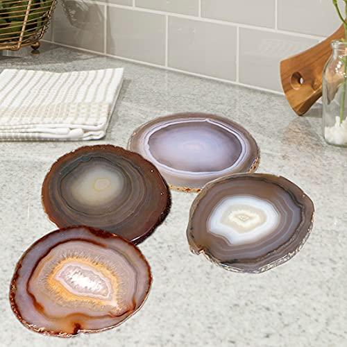 AMOYSTONE Geode Coasters Set Agate Stone Coasters for Drinks Nature Crystal Quartz Coaster Set of 4...