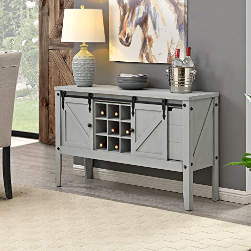 FirsTime & Co. Gray Quincy Farmhouse Barn Door Buffet and Wine Console Table, American Designed, Gray, 47 x 15 x 30 inches