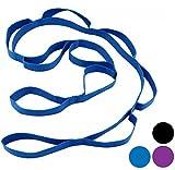 Wacces Yoga Strap Stretch Restore Multi-Grip Fitness Pilates Stretching Belt Multicolor (Blue)