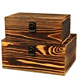 BigHala Wooden Box with Lock and Keys Hinged Lid Treasure Chest...