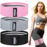 NVRGIUP Exercise Resistance Bands for Legs and Butt, Upgrade Thicken Anti-Slip & Roll Home Gym Workout Booty Bands, Wide Fabric Loop Thigh Glute Bands Set for Women with Ebook & Video