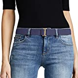 No Show Women Stretch Belt Invisible Elastic Web Strap Belt with Flat Buckle for Jeans Pants Dresses. (Suit for US Size 0-16, Blue-brass color buckle)