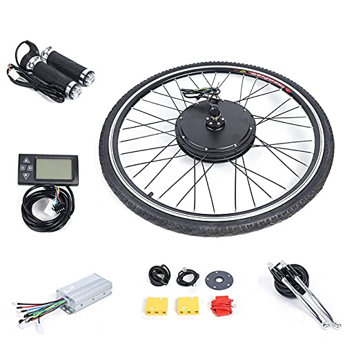 Fetcoi Rueda delantera y piezas de bicicleta eléctrica de 28 pulgadas, kit de conversión para bicicleta eléctrica, rueda delantera pedelec, kit de conversión con pantalla LCD, 36 V 500 W