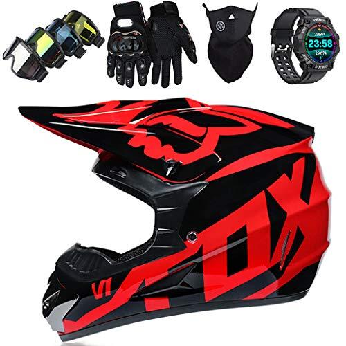 KIVEM Casco de Moto, JMY-01 Set de Casco de Motocross Niños con Gafas/Reloj Inteligente Deportivo - Casco de Moto Off Road MTB Dirt Bike de Integrales para Adulto - con Diseño Fox, Negro Brillante,S