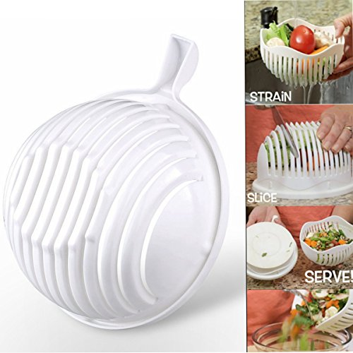 Kyerivs 60 Sekunden Salat Maker Schüssel Messer Schneidemaschine, Gemüsesalat Cutter Maker Bowl