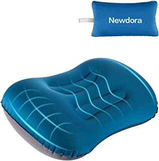 Newdora Almohada Hinchable, Almohada Camping, Almohada de Viaje Inflable, Almohada Inflable Ultraligera, Adecuado para para Camping, Playa, Viajes, Montañismo & Avión, Azul