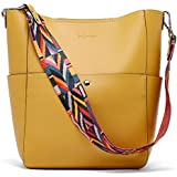 BROMEN Women Handbag Designer Vegan Leather Hobo Handbags Shoulder Bucket Cross-body Purse Yellow
