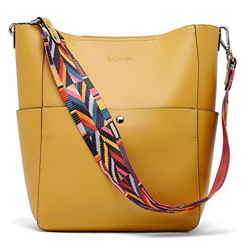 BROMEN Handtasche Damen Leder Schultertasche Umhängetasche Groß Shopper Designer Tasche mit 2 Trageriemen Gelb