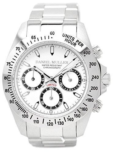 [ダニエル・ミューラー]DANIEL MULLER 腕時計 オールステンレス クロノグラフ メンズウォッチ DM-2003WH ホワイト