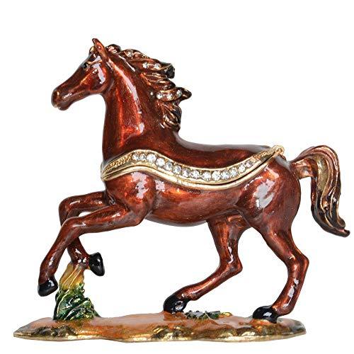 Sculptuur Standbeeld Paard Met Juwelen Versierde Doos Paardbeeldje Metalen Sieradendozen & Organisatoren Paard Collectible Gifts Decor
