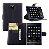 Ycloud Tasche für BlackBerry Passport (Q30) Hülle, PU Ledertasche Flip Cover Wallet Case Handyhülle mit Stand Function Credit Card Slots Bookstyle Purse Design schwarz