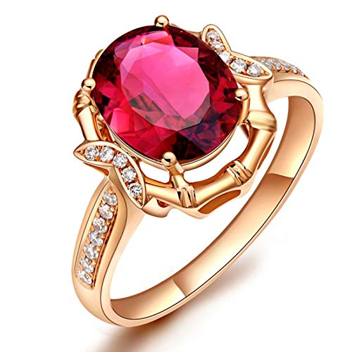 AueDsa Ring Rose Gold Wedding Bands for Women Gold 18K Big Oval Tourmaline Ring 3ct Ring Size T 1/2