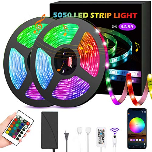 GSBLUNIE LED Strip Lights 32.8ft,Smart Lights Strip Music Sync,RGB Color Changing Rope Lights,APP Control with Remote,5050 RGB LED Light Strip,LED Lights for Bedroom,TV, Party, Kitchen,Home,Decoration
