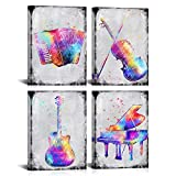 LoveHouse Colorful Music Canvas Prints Wall Art Piano Guitar Violin Abstract Picture Wall Decor Great Gift Artwork for Music Lover Boy Girl Bedroom Home Decoration Ready to Hang 24x48inch