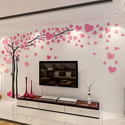 Zzyou DIY 3D Huge Love Tree Wall Stickers Crystal Acrylic Wall Decals Wall Murals Home Decorations Arts (M, Pink)