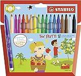 Feutre de coloriage - STABILO Trio Frutti - Étui carton x 18 feutres pointe moyenne (encre parfumée) - Coloris assortis