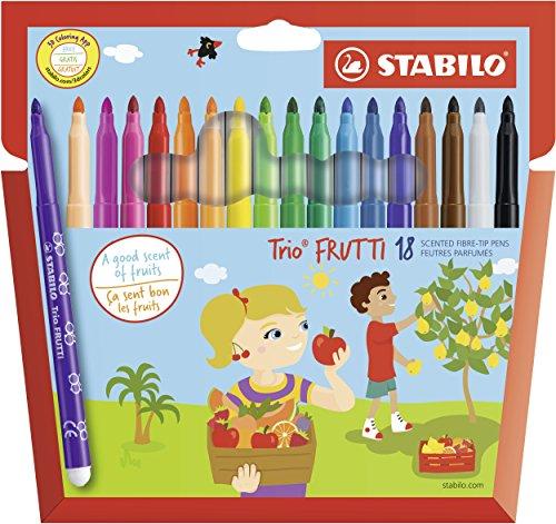 Stabilo Trio Frutti–Custodia Cartone di pennarelli punta media (inchiostro profumata)–Colori assortiti Etui de 18 multicolore