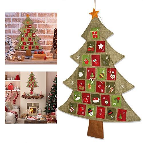 YUANZHU Calendario De Adviento De Navidad Cuenta Atrás Calendario De Adviento De 24 Días, Árbol De Navidad Calendario Colgante con Bolsillo (25.2 por 35 Pulgadas)
