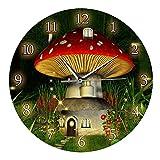 Garneck Reloj de Pared Silencioso para Niños Diseño de Casa de Setas Reloj Oscilante Decorativo Educativo Reloj de Pared Decoración para Niños Dormitorio Sala de Estar Cuarto de Niños sin