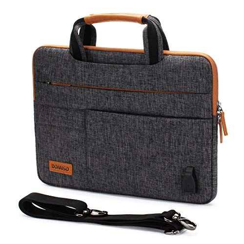 DOMISO - Bolsa de PC impermeable de 14 pulgadas, con puerto de carga USB para ordenador portátil/Notebook/Apple/HP Stream 14 Pavilion 14 / Acer Aspire 1 Swift 3 / dell/Asus, gris oscuro