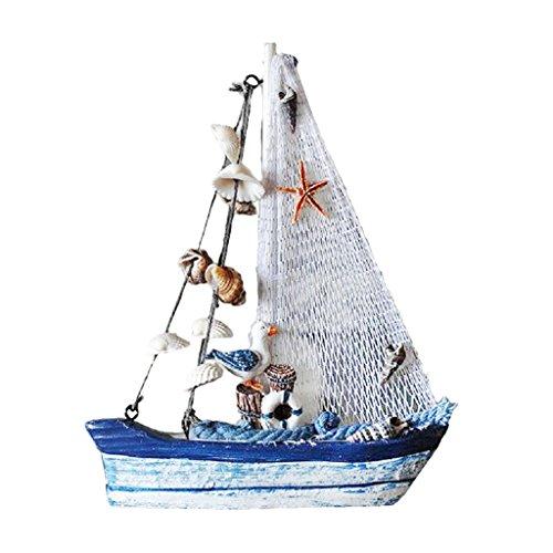 Fenteer Holzboot Segelboot Segelschiff Boot Schiff Holz maritime Deko