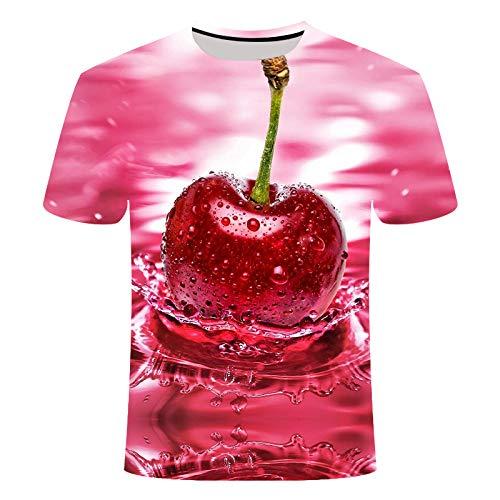 ASDWA 3D Impreso Camisetas,Patrones De Fruta Personalizados Vintage Rosa Unisex Camisetas Impresas En 3D Transpirable Verano Cuello Redondo Camisetas Casuales Manga Corta para Niñas Adolescentes, S