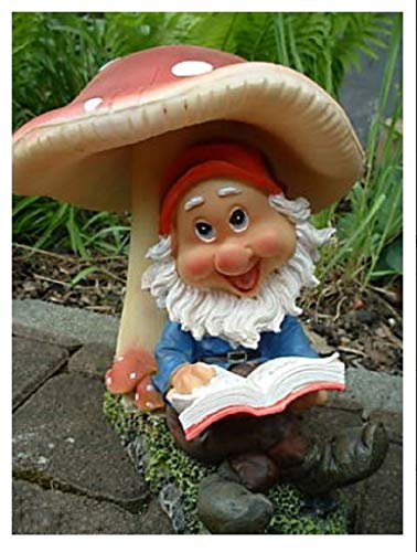 Gartenzwerg mit Buch unter Pilz Gartenfigur - 2
