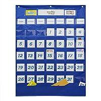 Aibecy スクールクラスルームカレンダーポケットチャートウォールカレンダー&天気図117枚のティーチングツール用品、25.75 * 33.75インチ