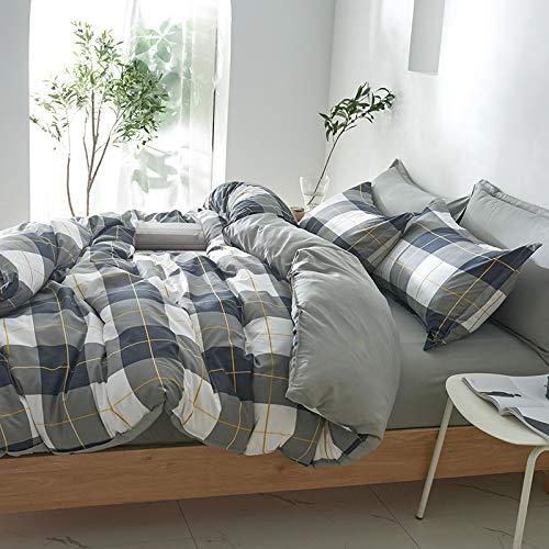 Damier Ropa de cama 135 x 200 gris, blanco y azul a cuadros, juego de funda nórdica de 2 piezas de suave microfibra reversible con cremallera geométrica a cuadros y 1 funda de almohada de 80 x 80 cm