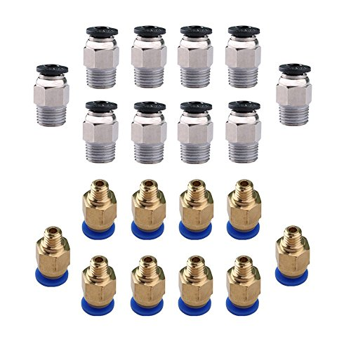 CESFONJER 10 PCS E3D V6/ PC4-M10 Stecker gerade Pneumatik PTFE Tube Push In Quick Fitting-Anschluss, 10 PCS 1.75mm 3D Drucker PC4-M6 Push in PTFE-Schlauch Tube pneumatische Steckanschlüsse.