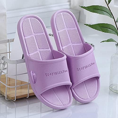 Zapatillas para Famili,Zapatillas de baño de PVC para hombres y mujeres, zapatillas de casa antideslizantes de verano, sandalias y zapatillas de baño para parejas de estudiantes-Purple_2_36 / 37
