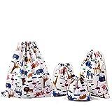 Abaría - 4 unidades bolsa de tela grande tela - bolsa inserto organizador -...