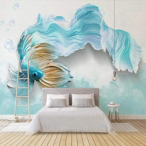 XIAOHUKK Self-Adhesive 3D Wallpaper Mural Modern Abstract Blue Fish Art Mural Wall Decals Living Room Bedroom Home Decoration Waterproof Stickers