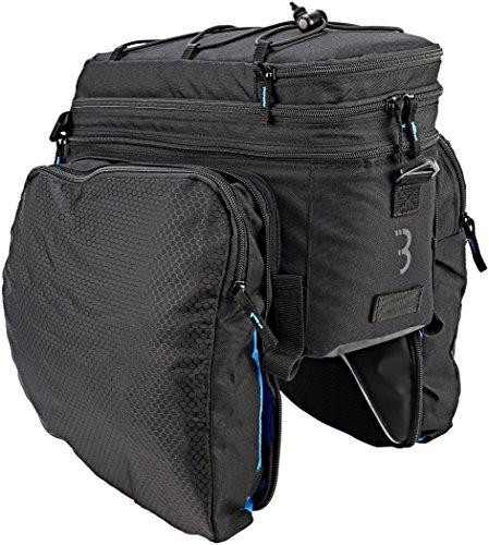 BBB Cycling BSB-133 Fietstas, uniseks, met dubbele tas, reflecterende elementen, 4 klittenbandsluitingen, royale bagageruimte, zwart, 30000 cm3