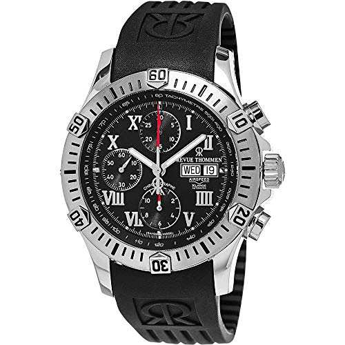 Revue Thommen Airspeed XLarge Automatic Chronograph Dive Watch - 44mm Black Face with Day, Date, Tachymeter Scale and Divers Bezel - Swiss Made Black Rubber Band Waterproof Diving Watch 16071.6837