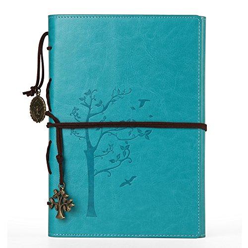 :❤️ VALERY Cuaderno de notas A5 de cuero PU (piel sintética) I Diario de viaje, hojas intercambiables I Diario Vintage para escribir I 96 hojas y 192 páginas de líneas (papel sin ácido) - Azul
