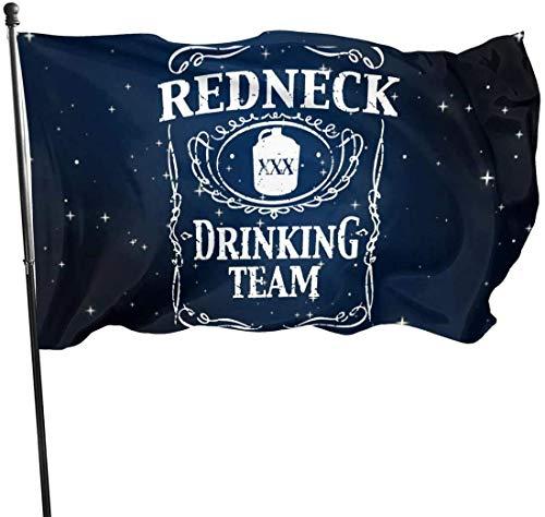 N/A Garten Banner,Flagge,Hanging Flag Dekor,Fahne,Redneck Drinking Team Polyester Flag-Vivid Farbe Und Uv-Lichtbeständig Für Den Außen-/Innenbereich 150X90Cm