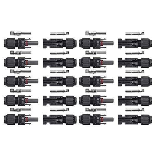 SARONIC MC4-Stecker/Buchse für Sonnenkollektor-Kabelverbinder - Doppelte Dichtungsringe für bessere Wasserdichtigkeit (10 Paare)