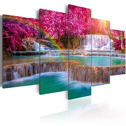 murando - Cuadro en Lienzo 200x100 - Impresion de 5 Piezas Material Tejido no Tejido Impresion Artistica Imagen Grafica Decoracion de Pared Paisaje Cascada Naturaleza c-B-0128-b-m