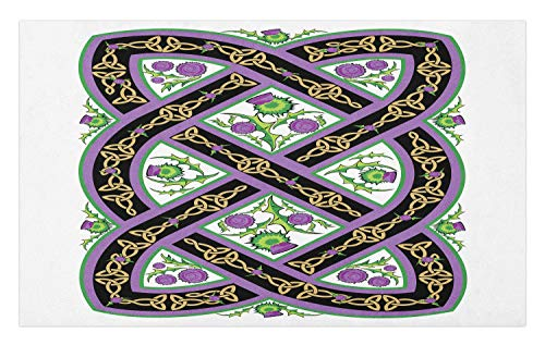 Ambesonne Scotland Doormat, Celtic Traditional Royal Pattern with Flowers Thistle Culture Ornamental Art, Decorative Polyester Floor Mat with Non-Skid Backing, 30' X 18', Black Green