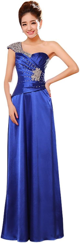 Drasawee Women's One Shoulder Sequins Evening Dresses Beading Satin Bridal Gowns RoyalblueeUS16