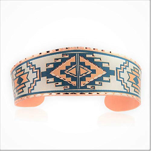 Southwest Native Geometric/Cuatro Elementos/Art Deco Pulseras para Unisex, Cobre Art Deco Joyería hecha a mano
