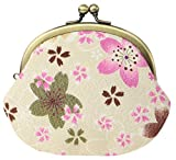 watona Japanese Traditional Chirimen Gamaguchi Coin Purse Sakura ちりめん がま口 桜 白 White